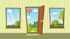 Ανοιγμένα πόρτα και διάνυσμα παραθύρων Επίπεδο θερινό τοπίο κινούμενων σχεδίων designed home interior living retro room style Μπρ Στοκ εικόνα με δικαίωμα ελεύθερης χρήσης