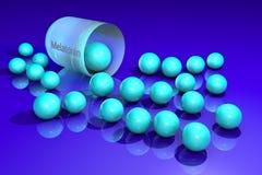 Ανοιγμένη ανοικτό μπλε κάψα melatonin με τους κόκκους Το Melatonin είναι μια ορμόνη που παράγει από τον κωνοειδή αδένα και ρυθμίζ διανυσματική απεικόνιση