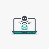 Ανοιγμένο ηλεκτρονικό ταχυδρομείο και malware lap-top ελεύθερη απεικόνιση δικαιώματος