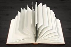 Ανοιγμένο κενό βιβλίο στον ξύλινο πίνακα, τρισδιάστατη απόδοση απεικόνιση αποθεμάτων