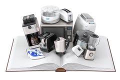 Ανοιγμένο κενό βιβλίο με τις συσκευές οικιακών κουζινών, τρισδιάστατο renderin ελεύθερη απεικόνιση δικαιώματος