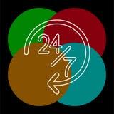 Ανοικτά 24 εικονίδιο 7 υπηρεσιών, διανυσματική εξυπηρέτηση πελατών απεικόνιση αποθεμάτων
