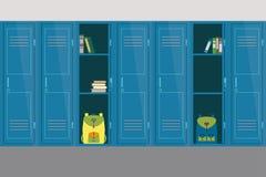 Ανοικτά και κλειστά σχολικά ντουλάπια, σχολικό εσωτερικό και έπιπλα διανυσματική απεικόνιση