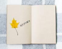 Ανοικτά σημειωματάριο και φύλλα σφενδάμου στον πίνακα Στοκ Εικόνες