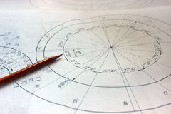 Ανοικτά σχέδια με ένα μολύβι Εφαρμοσμένη μηχανική και σχέδιο Στοκ Εικόνες
