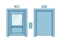 Ανοικτές και κλειστές πόρτες ανελκυστήρων κτιρίου γραφείων διαμερισμάτων γραμμών διανυσματική απεικόνιση