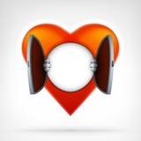 Ανοικτή έννοια πρόσβασης καρδιών ως κενό πρότυπο για το σχέδιο κειμένων Στοκ Φωτογραφία
