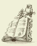 Ανοικτή εκλεκτής ποιότητας στάση βιβλίων και χαριτωμένη κουκουβάγια Στοκ Φωτογραφίες