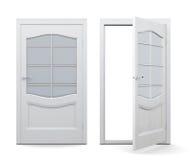 Ανοικτή και κλειστή πόρτα στο άσπρο υπόβαθρο τρισδιάστατος δώστε το ima διανυσματική απεικόνιση