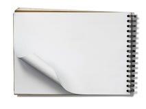 Ανοικτή κενή σελίδα βιβλίων σημειώσεων στο λευκό Στοκ Φωτογραφίες