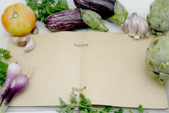 Ανοικτή κουζίνα βιβλίων συνταγής Στοκ φωτογραφία με δικαίωμα ελεύθερης χρήσης