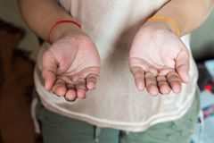 Ανοικτή παλάμη του χεριού στοκ φωτογραφία