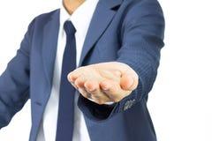 Ανοικτή χειρονομία χεριών παλαμών επιχειρηματιών στο παχουλό ύφος που απομονώνεται σε Wh Στοκ Φωτογραφίες