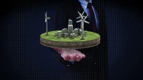 Ανοικτοί φοίνικες επιχειρηματιών, ενεργειακή επιτροπή αιολικής ενέργειας στο έδαφος Φιλική προς το περιβάλλον ενέργεια φιλμ μικρού μήκους