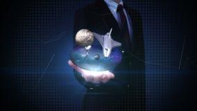 Ανοικτοί φοίνικες επιχειρηματιών, διαστημικό εργαστήριο επιστημών, πλανήτης, αστρονομία απόθεμα βίντεο