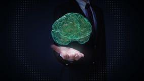Ανοικτοί φοίνικες επιχειρηματιών, περιστρεφόμενη των ακτίνων X εικόνα εγκεφάλου φιλμ μικρού μήκους