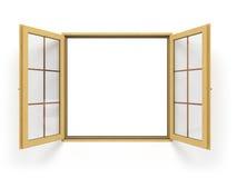 Ανοικτός ξύλινος στενός επάνω παραθύρων Στοκ φωτογραφίες με δικαίωμα ελεύθερης χρήσης
