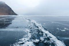 Ανοικτός ραγισμένος πάγος Στοκ Φωτογραφίες