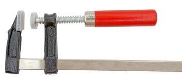 Ανοικτός σφιγκτήρας βιδών ξυλουργικής με την κόκκινη λαβή Στοκ φωτογραφίες με δικαίωμα ελεύθερης χρήσης