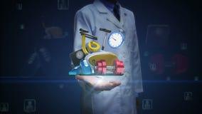 Ανοικτός φοίνικας γιατρών, διάφορος εξοπλισμός υγειονομικής περίθαλψης σιτηρέσιο περιεχόμενο άσκησης ποδήλατο υγείας, χρονόμετρο  απόθεμα βίντεο
