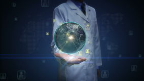 Ανοικτός φοίνικας γιατρών, περιστρεφόμενη γη, επεκτειμένος κοινωνική υπηρεσία δικτύου, μέσα στους φοίνικες απόθεμα βίντεο