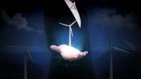 Ανοικτός φοίνικας επιχειρηματιών, ανεμοστρόβιλος η ενέργεια eco απομόνωσε τον άσπρο ανεμόμυλο παρουσίαση (συμπεριλαμβανόμενος ο ά απεικόνιση αποθεμάτων