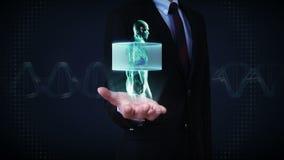 Ανοικτός φοίνικας επιχειρηματιών, ανιχνευτικό σώμα Ανθρώπινοι πνεύμονες, πνευμονικά διαγνωστικά, μπλε φως ακτίνας X φιλμ μικρού μήκους