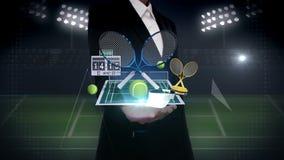 Ανοικτός φοίνικας επιχειρηματιών, επιπλέον εικονίδιο αντισφαίρισης, ρακέτα, σφαίρα, γήπεδο αντισφαίρισης απεικόνιση αποθεμάτων