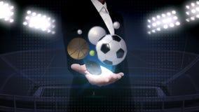 Ανοικτός φοίνικας επιχειρηματιών, διάφορη αθλητική σφαίρα, μπέιζ-μπώλ, σφαίρα ποδοσφαίρου, καλαθοσφαίριση, πετοσφαίριση, σφαίρα α διανυσματική απεικόνιση