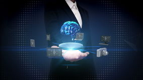 Ανοικτός φοίνικας επιχειρηματιών, συσκευές που συνδέει τον ψηφιακό εγκέφαλο, τεχνητή νοημοσύνη Διαδίκτυο των πραγμάτων φιλμ μικρού μήκους