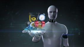 Ανοικτός φοίνικας ρομπότ cyborg, διάφορος εξοπλισμός υγειονομικής περίθαλψης σιτηρέσιο άσκηση περιεκτικότητες απεικόνιση αποθεμάτων