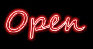 Ανοικτό έμβλημα σημαδιών νέου στο κόκκινο στοκ φωτογραφία με δικαίωμα ελεύθερης χρήσης