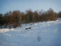 Ανοικτό έλκηθρο δύο αλόγων Στοκ Εικόνα