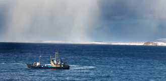 ανοικτό απομακρυσμένο θόριο σκαφών θάλασσας χιονοθύελλας πτυχής Στοκ εικόνα με δικαίωμα ελεύθερης χρήσης