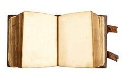 Ανοικτό αρχαίο βιβλίο τις κενές σελίδες που απομονώνονται με στο λευκό Στοκ εικόνα με δικαίωμα ελεύθερης χρήσης