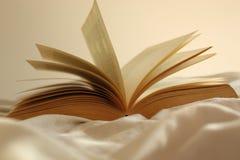 Ανοικτό βιβλίο στο άσπρο τσαλακωμένο φύλλο στοκ εικόνα