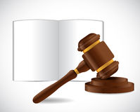 Ανοικτό βιβλίο και ένα σχέδιο απεικόνισης σφυριών νόμου διανυσματική απεικόνιση