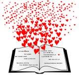 Ανοικτό βιβλίο με τις πετώντας καρδιές και σ' αγαπώ Στοκ φωτογραφία με δικαίωμα ελεύθερης χρήσης