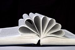 Ανοικτό βιβλίο με τις σελίδες που κατσαρώνουν στο Μαύρο Στοκ Εικόνα