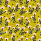 Ανοικτό βιολετί γαρίφαλα με τα σκούρο μπλε φύλλα σε ένα κίτρινο υπόβαθρο ελεύθερη απεικόνιση δικαιώματος