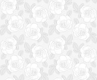 Ανοικτό γκρι άνευ ραφής σχέδιο τριαντάφυλλων Στοκ Φωτογραφίες