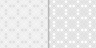 Ανοικτό γκρι γεωμετρικές διακοσμήσεις άνευ ραφής σύνολο προτύπων Στοκ Εικόνες