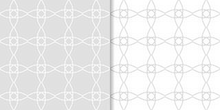 Ανοικτό γκρι γεωμετρικές διακοσμήσεις άνευ ραφής σύνολο προτύπων Στοκ Φωτογραφίες