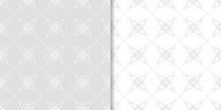Ανοικτό γκρι γεωμετρικές τυπωμένες ύλες άνευ ραφής σύνολο προτύπων Στοκ Φωτογραφία