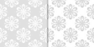 Ανοικτό γκρι floral διακοσμήσεις άνευ ραφής σύνολο προτύπων Στοκ φωτογραφίες με δικαίωμα ελεύθερης χρήσης