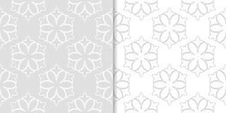 Ανοικτό γκρι floral διακοσμήσεις άνευ ραφής σύνολο προτύπων Στοκ εικόνες με δικαίωμα ελεύθερης χρήσης