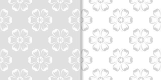 Ανοικτό γκρι floral διακοσμητικά σχέδια άνευ ραφής σύνολο προτύπων Στοκ εικόνες με δικαίωμα ελεύθερης χρήσης