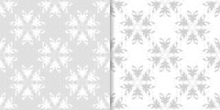 Ανοικτό γκρι floral διακοσμητικά σχέδια άνευ ραφής σύνολο προτύπων Στοκ φωτογραφία με δικαίωμα ελεύθερης χρήσης