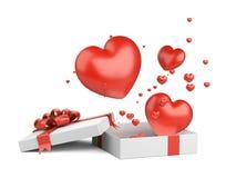 Ανοικτό δώρο με τις πετώντας κόκκινες καρδιές από το κιβώτιο Σχέδιο καρτών ημέρας βαλεντίνων - σύμβολα της αγάπης στοκ φωτογραφία με δικαίωμα ελεύθερης χρήσης