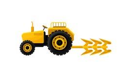 Ανοικτό κίτρινο τρακτέρ με το άροτρο Βιομηχανικός αγροτικός εξοπλισμός Επαγγελματικά γεωργικά μηχανήματα για την επιτόπια έρευνα  διανυσματική απεικόνιση